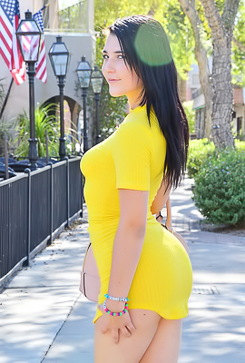 Bella FTV Juicy Bella FTV poses in a sexy yellow dress