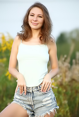 Galina A Posing Outdoors With Her Great Smile